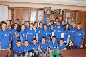 Die Austauschschüler der IGS bei ihrem offiziellen Besuch beim Bürgermeister von Alexandria / Ukraine